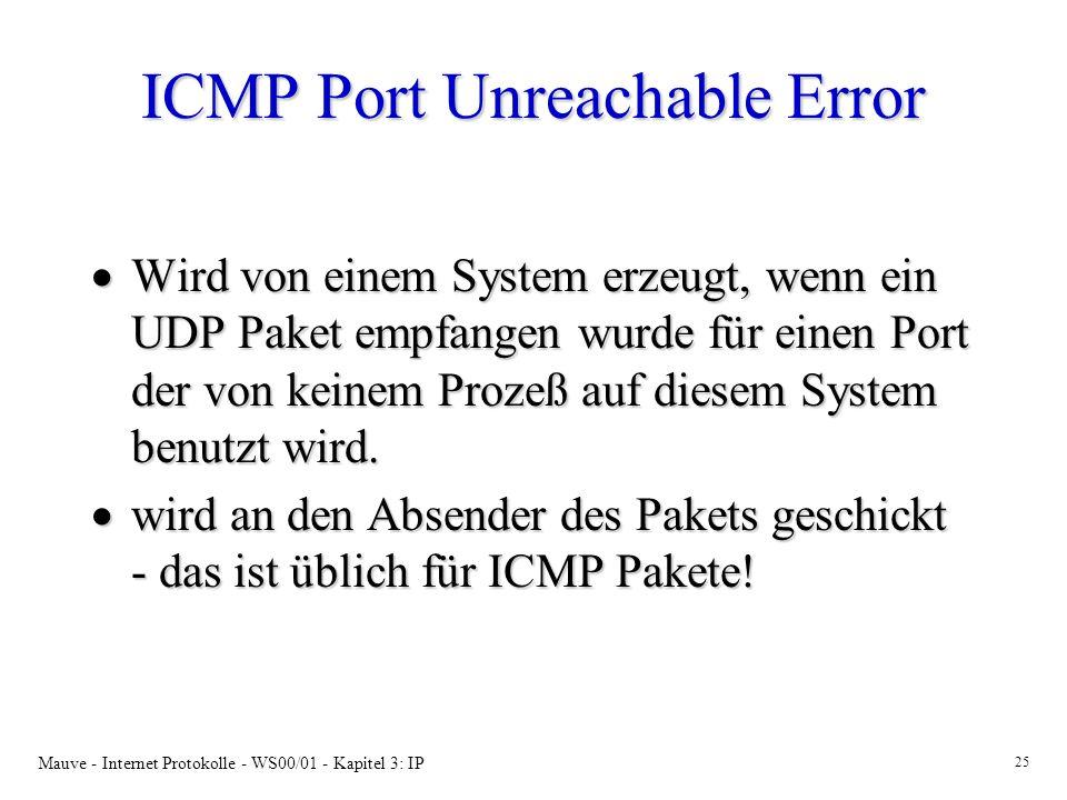 Mauve - Internet Protokolle - WS00/01 - Kapitel 3: IP 25 ICMP Port Unreachable Error Wird von einem System erzeugt, wenn ein UDP Paket empfangen wurde