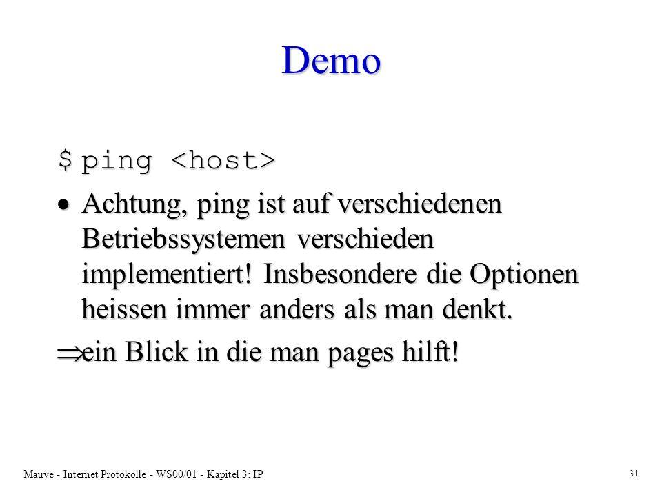 Mauve - Internet Protokolle - WS00/01 - Kapitel 3: IP 31 Demo $ping $ping Achtung, ping ist auf verschiedenen Betriebssystemen verschieden implementie