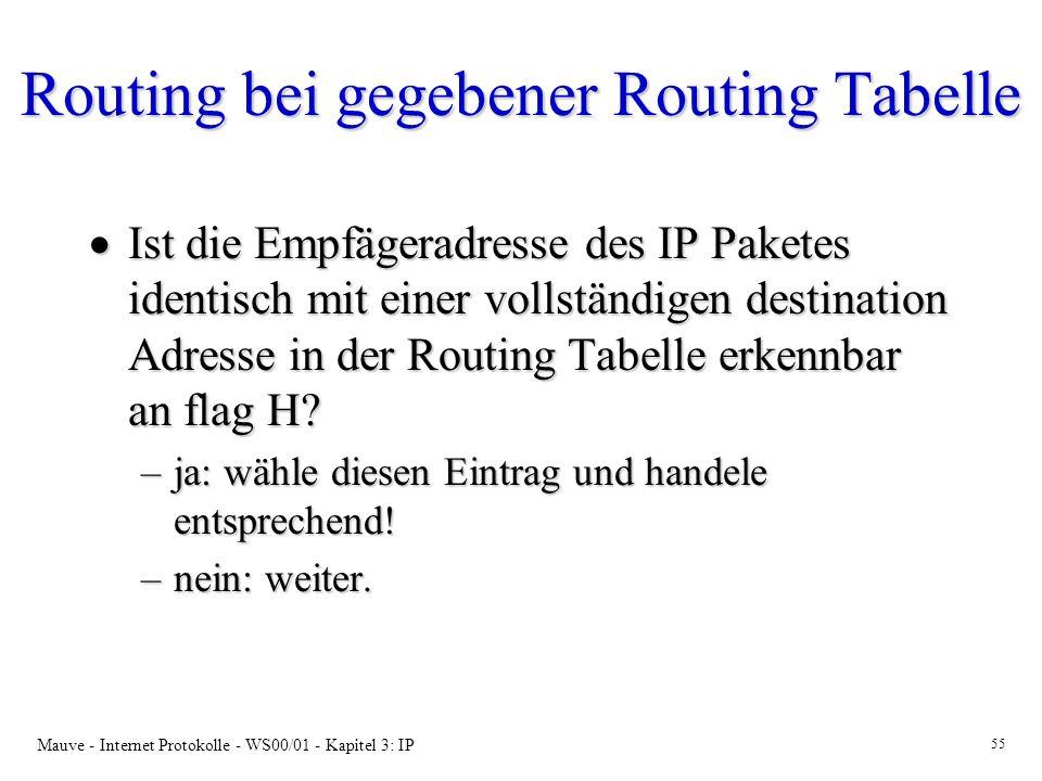 Mauve - Internet Protokolle - WS00/01 - Kapitel 3: IP 55 Routing bei gegebener Routing Tabelle Ist die Empfägeradresse des IP Paketes identisch mit ei