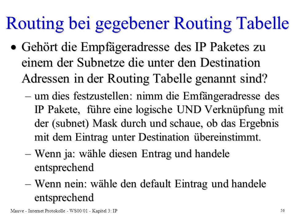Mauve - Internet Protokolle - WS00/01 - Kapitel 3: IP 56 Routing bei gegebener Routing Tabelle Gehört die Empfägeradresse des IP Paketes zu einem der