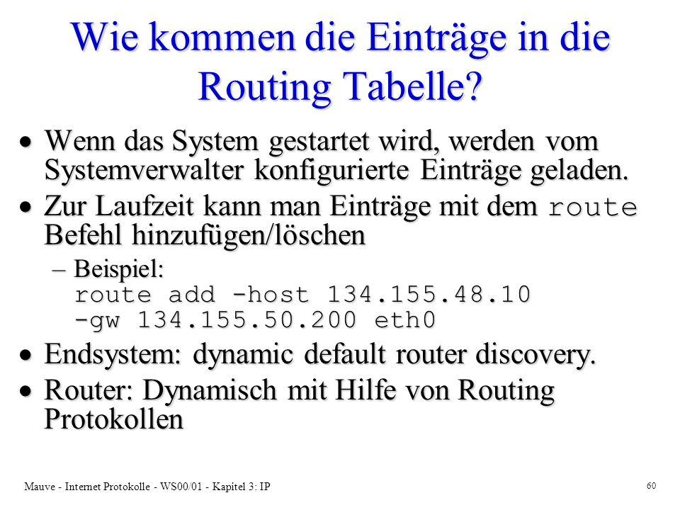 Mauve - Internet Protokolle - WS00/01 - Kapitel 3: IP 60 Wie kommen die Einträge in die Routing Tabelle? Wenn das System gestartet wird, werden vom Sy