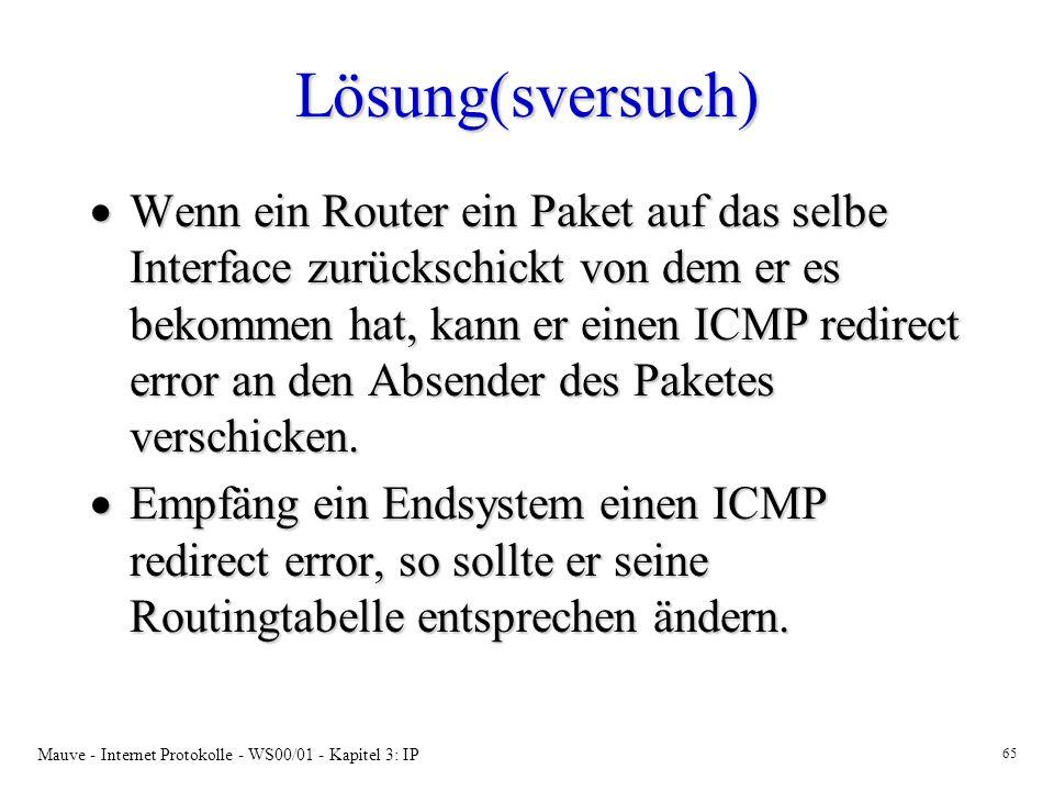Mauve - Internet Protokolle - WS00/01 - Kapitel 3: IP 65 Lösung(sversuch) Wenn ein Router ein Paket auf das selbe Interface zurückschickt von dem er e