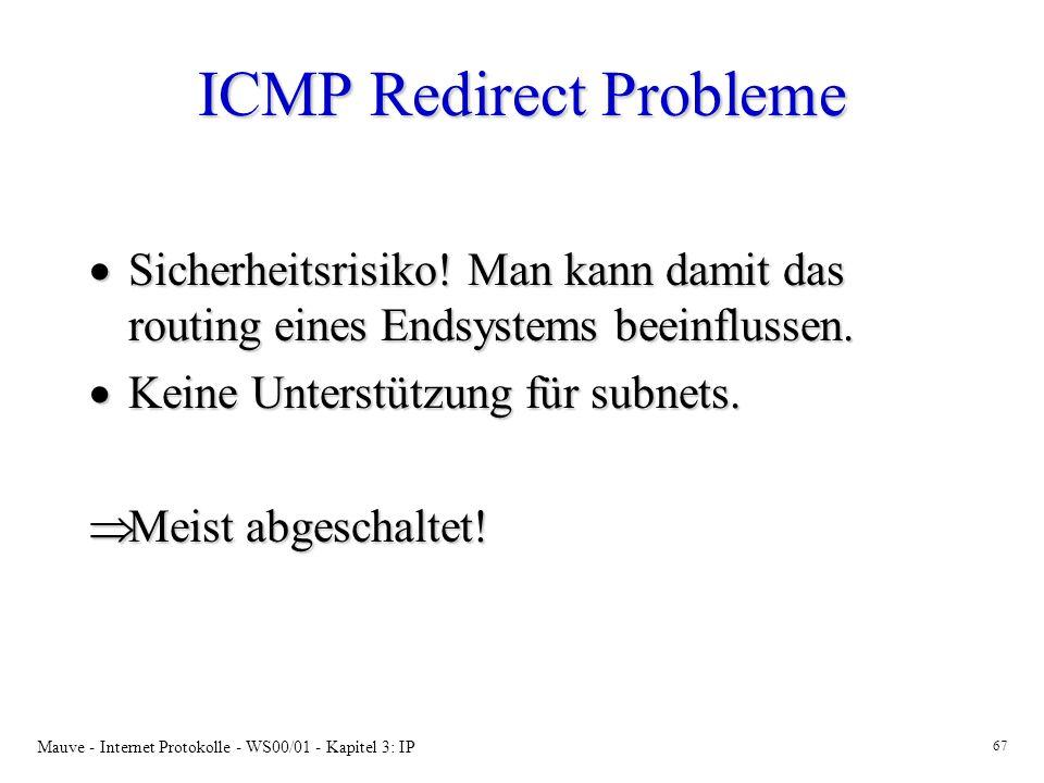 Mauve - Internet Protokolle - WS00/01 - Kapitel 3: IP 67 ICMP Redirect Probleme Sicherheitsrisiko! Man kann damit das routing eines Endsystems beeinfl
