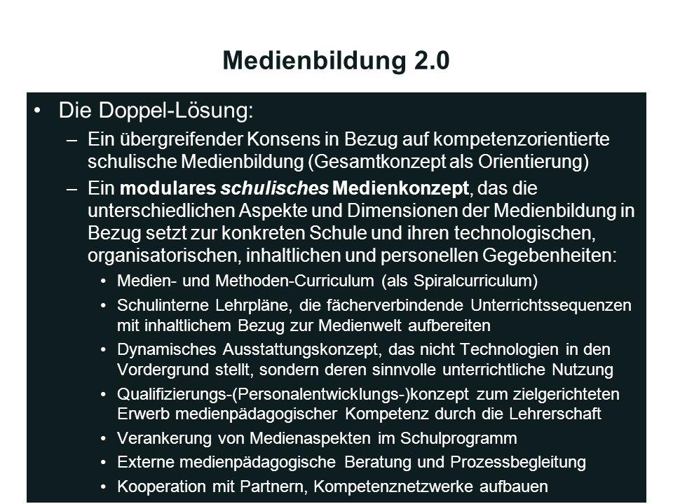 Medienbildung 2.0 Die Doppel-Lösung: –Ein übergreifender Konsens in Bezug auf kompetenzorientierte schulische Medienbildung (Gesamtkonzept als Orienti