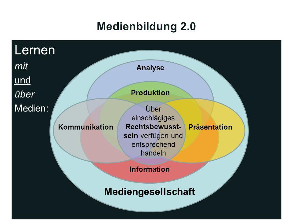 Medienbildung 2.0 Lernen mit und über Medien: Mediengesellschaft Information Analyse Produktion PräsentationKommunikation Über einschlägiges Rechtsbew