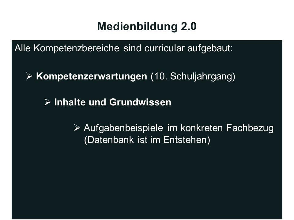 Medienbildung 2.0 Alle Kompetenzbereiche sind curricular aufgebaut: Kompetenzerwartungen (10. Schuljahrgang) Inhalte und Grundwissen Aufgabenbeispiele