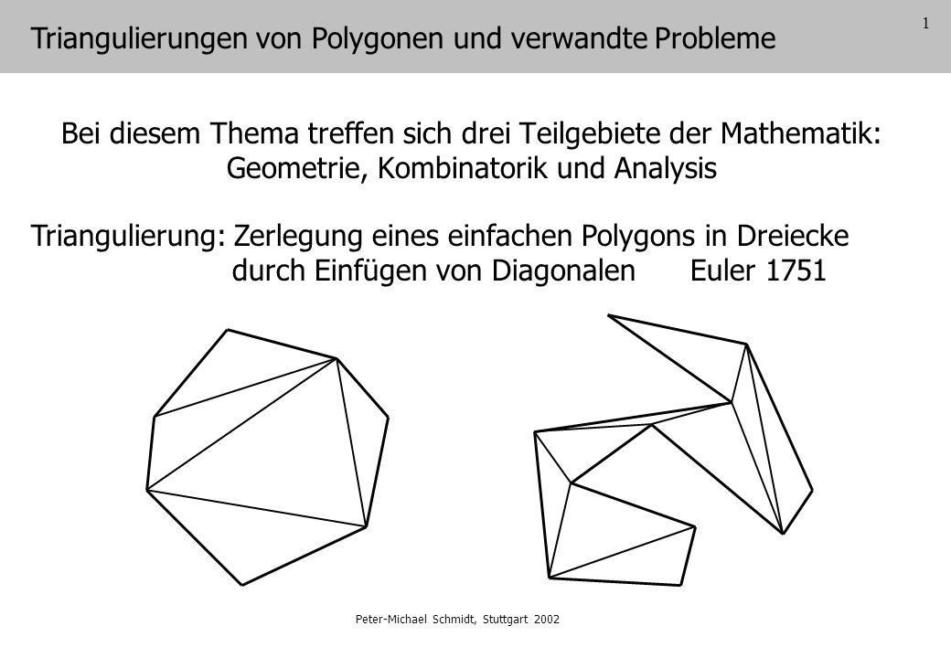 2 Anzahl der Triangulierungen eines konvexen Polygons mit n Ecken Äquivalentes Problem Anzahl der binären Bäume mit (n-2) Knoten Basis 0 1 2 3 4 5 6 0123456 mit Basis 01 12345 mit Basis 15056 mit Basis 05 Jeder Triangulierung eines konvexen Polygons mit n Ecken entspricht ein binärer Baum mit (n-2) Knoten und umgekehrt.