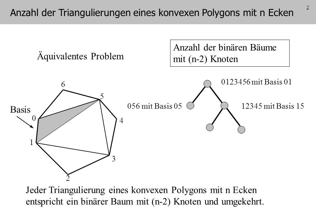 3 Anzahl der Klammerungen eines (nicht assoziativen) Produktes mit (n-1) Faktoren a b c d e f Basis Jeder Triangulierung eines konvexen Polygons mit n Ecken entspricht eine Klammerung eines Produktes mit (n-1) Faktoren.