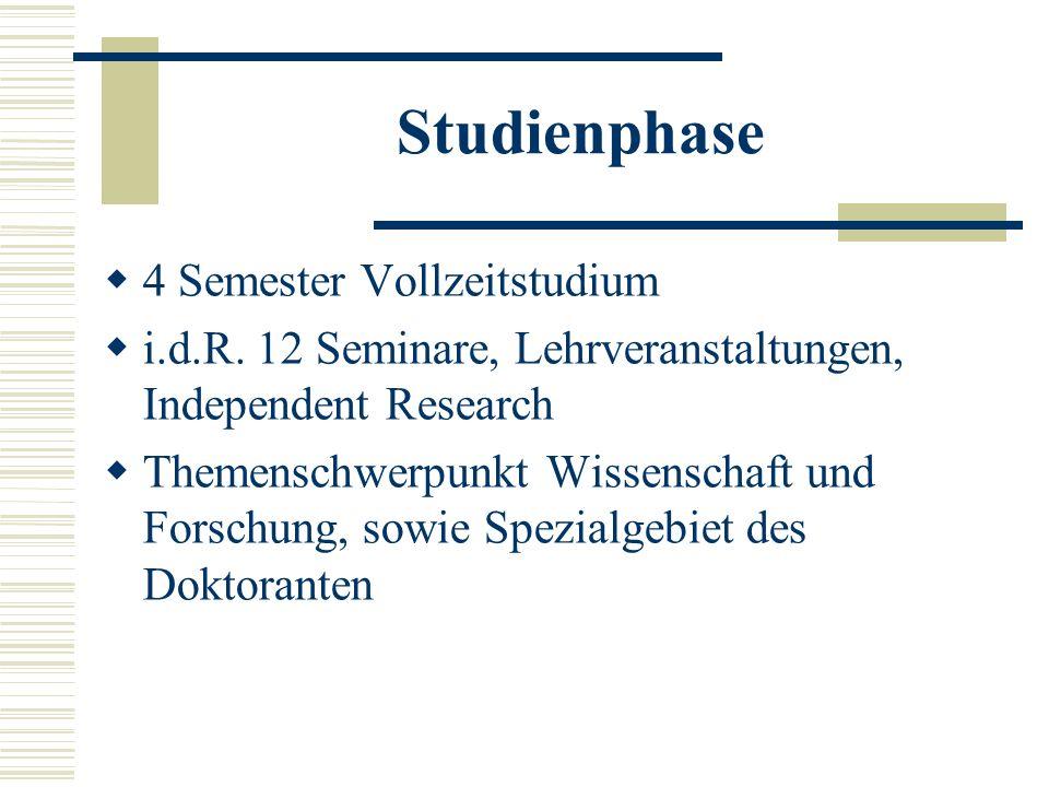 Studienphase 4 Semester Vollzeitstudium i.d.R.