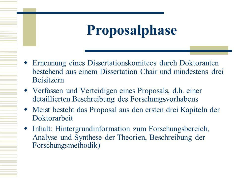 Proposalphase Ernennung eines Dissertationskomitees durch Doktoranten bestehend aus einem Dissertation Chair und mindestens drei Beisitzern Verfassen und Verteidigen eines Proposals, d.h.