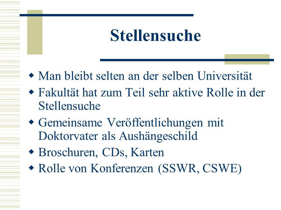 Stellensuche Man bleibt selten an der selben Universität Fakultät hat zum Teil sehr aktive Rolle in der Stellensuche Gemeinsame Veröffentlichungen mit Doktorvater als Aushängeschild Broschuren, CDs, Karten Rolle von Konferenzen (SSWR, CSWE)