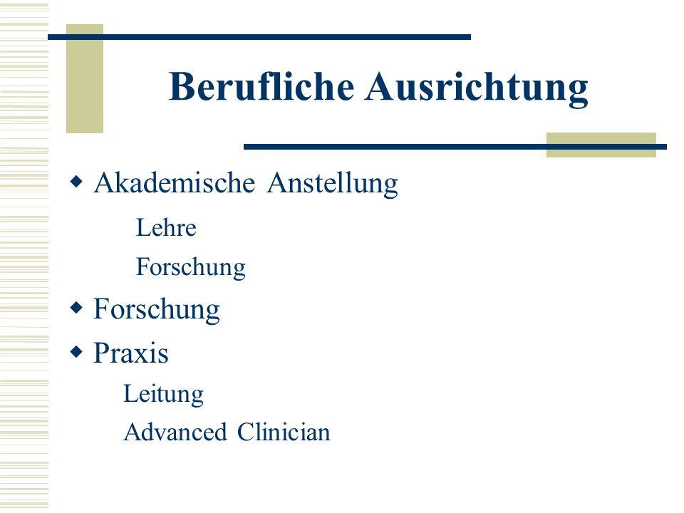 Berufliche Ausrichtung Akademische Anstellung Lehre Forschung Praxis Leitung Advanced Clinician