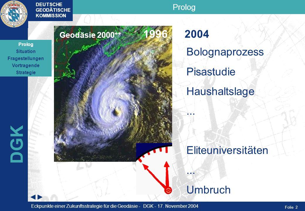 Folie 2 Prolog DEUTSCHE GEODÄTISCHE KOMMISSION DGK Bolognaprozess Pisastudie Haushaltslage... Eliteuniversitäten... Umbruch Geodäsie 2000 ++ 19962004