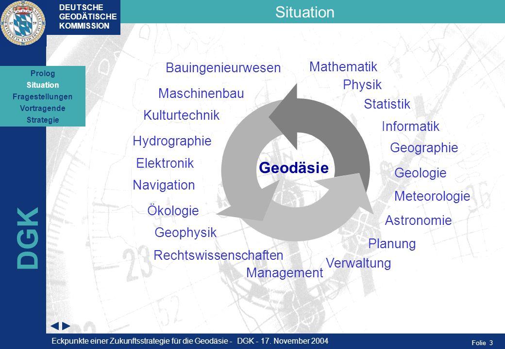 Folie 3 Situation DEUTSCHE GEODÄTISCHE KOMMISSION DGK 1999 Situation Fragestellungen Vortragende Strategie Prolog Geophysik Ökologie Kulturtechnik Hyd