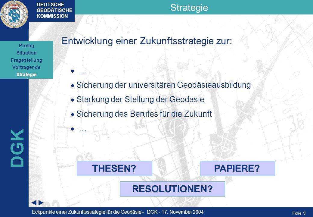 Folie 9 Strategie DEUTSCHE GEODÄTISCHE KOMMISSION DGK Situation Fragestellung Vortragende Strategie Prolog Entwicklung einer Zukunftsstrategie zur: …