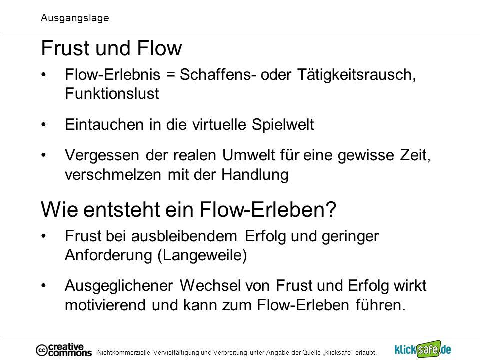 Nichtkommerzielle Vervielfältigung und Verbreitung unter Angabe der Quelle klicksafe erlaubt. Ausgangslage Frust und Flow Flow-Erlebnis = Schaffens- o