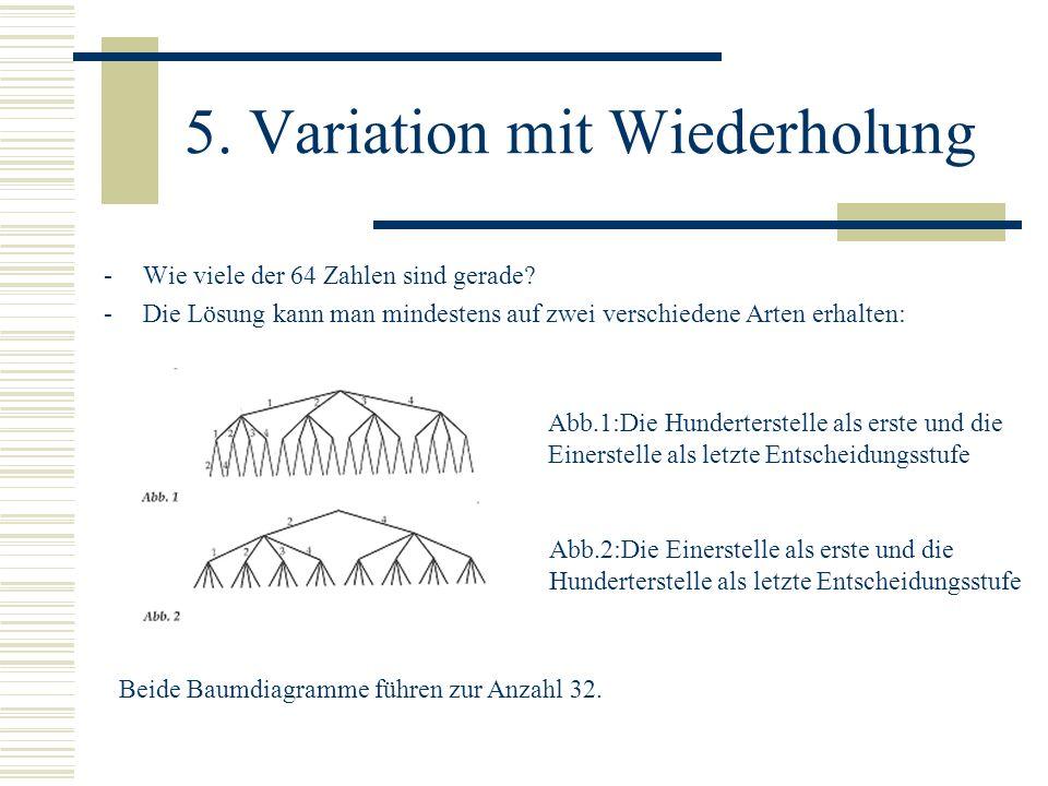 5. Variation mit Wiederholung -Wie viele der 64 Zahlen sind gerade? -Die Lösung kann man mindestens auf zwei verschiedene Arten erhalten: Beide Baumdi