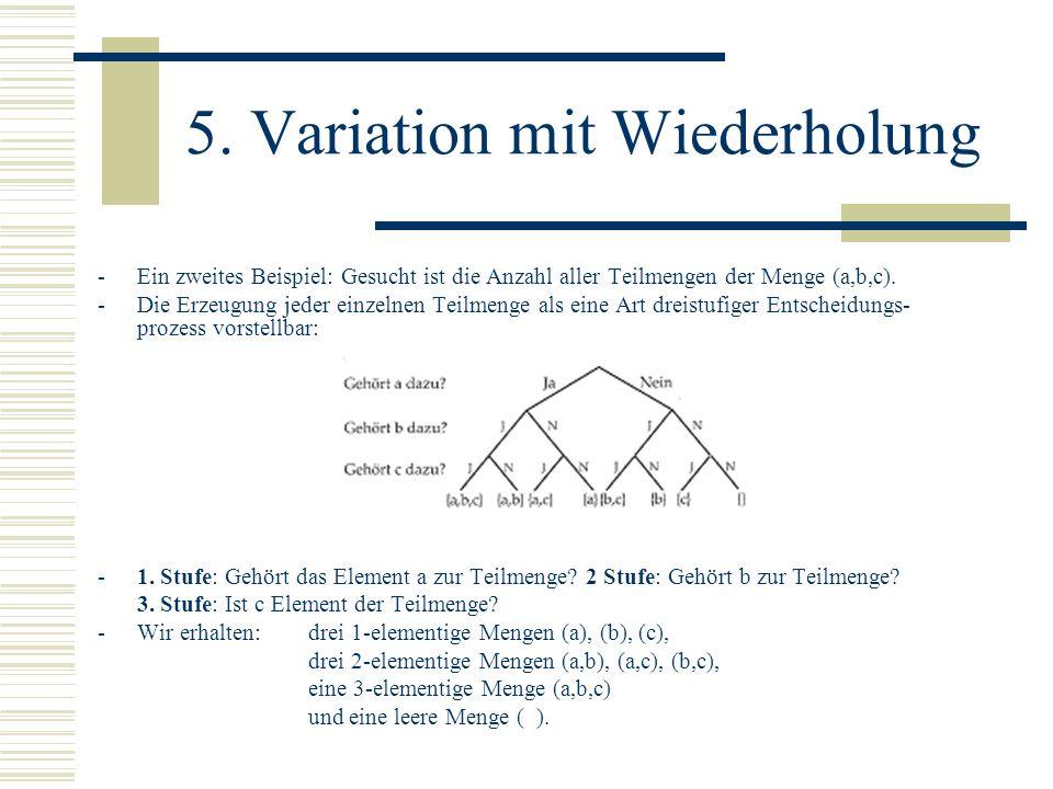 5. Variation mit Wiederholung -Ein zweites Beispiel: Gesucht ist die Anzahl aller Teilmengen der Menge (a,b,c). -Die Erzeugung jeder einzelnen Teilmen
