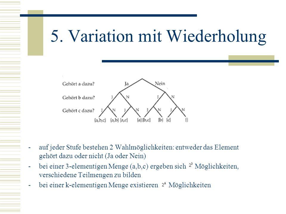 5. Variation mit Wiederholung -auf jeder Stufe bestehen 2 Wahlmöglichkeiten: entweder das Element gehört dazu oder nicht (Ja oder Nein) -bei einer 3-e