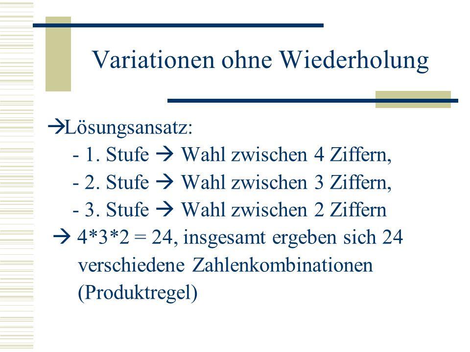 Variationen ohne Wiederholung Lösungsansatz: - 1. Stufe Wahl zwischen 4 Ziffern, - 2. Stufe Wahl zwischen 3 Ziffern, - 3. Stufe Wahl zwischen 2 Ziffer