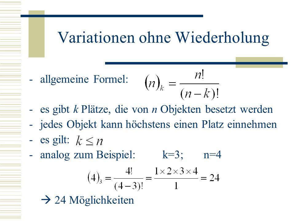 Variationen ohne Wiederholung -allgemeine Formel: -es gibt k Plätze, die von n Objekten besetzt werden -jedes Objekt kann höchstens einen Platz einneh