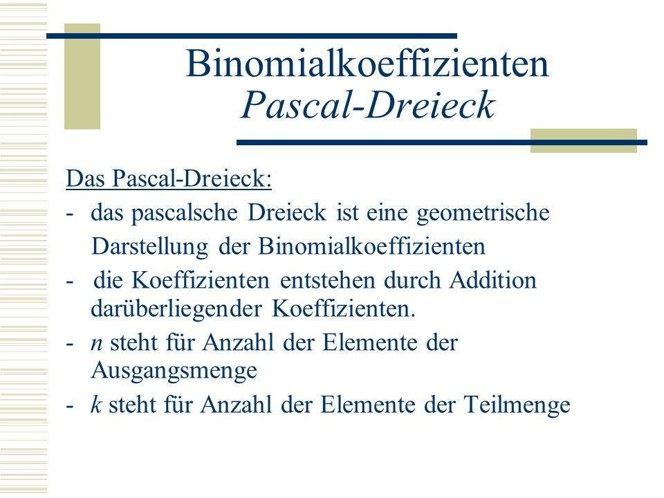 Binomialkoeffizienten Pascal-Dreieck Das Pascal-Dreieck: -das pascalsche Dreieck ist eine geometrische Darstellung der Binomialkoeffizienten - die Koe
