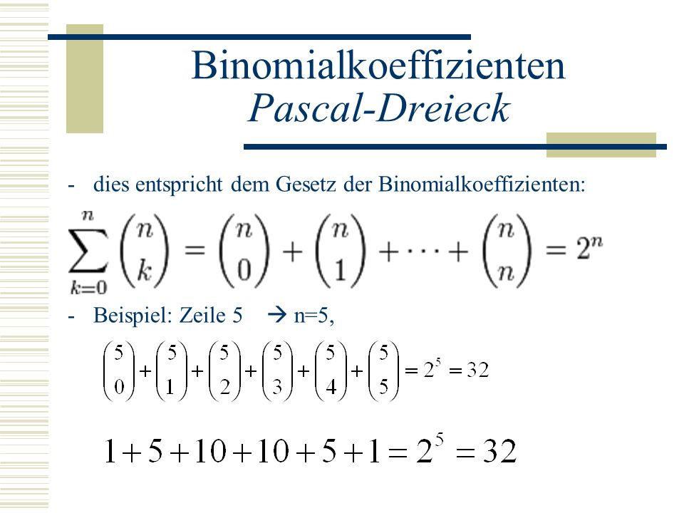 Binomialkoeffizienten Pascal-Dreieck -dies entspricht dem Gesetz der Binomialkoeffizienten: -Beispiel: Zeile 5 n=5,