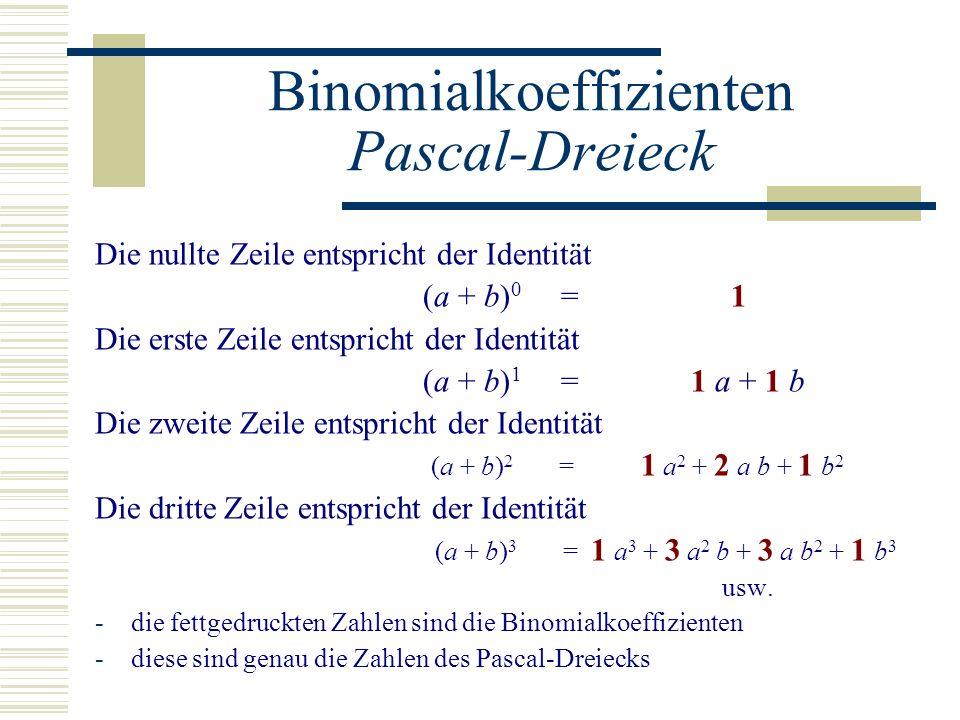 Binomialkoeffizienten Pascal-Dreieck Die nullte Zeile entspricht der Identität (a + b) 0 = 1 Die erste Zeile entspricht der Identität (a + b) 1 = 1 a