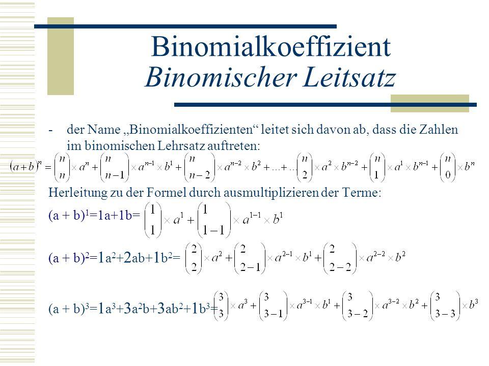 Binomialkoeffizient Binomischer Leitsatz -der Name Binomialkoeffizienten leitet sich davon ab, dass die Zahlen im binomischen Lehrsatz auftreten: Herl