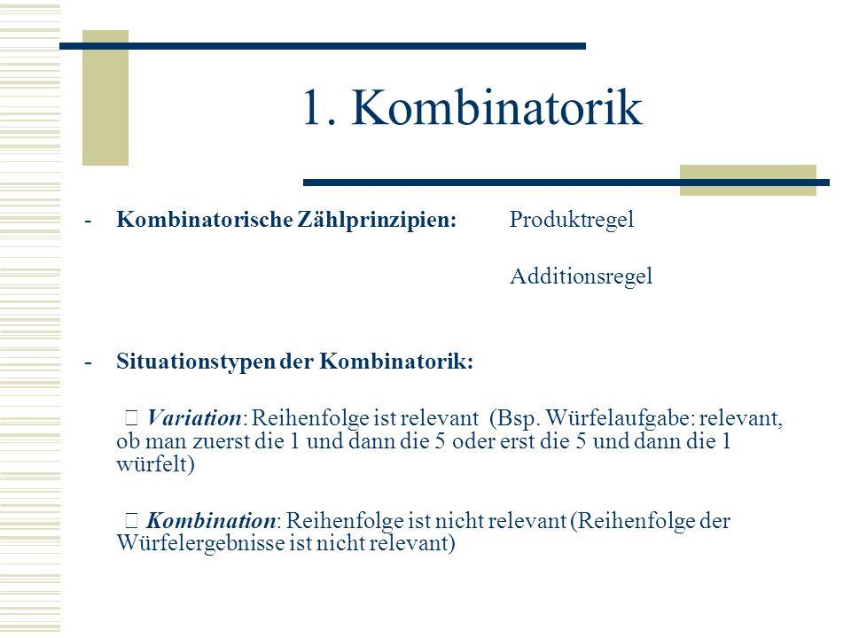1. Kombinatorik -Kombinatorische Zählprinzipien: Produktregel Additionsregel -Situationstypen der Kombinatorik: Variation: Reihenfolge ist relevant (B