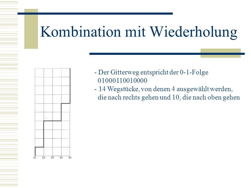 Kombination mit Wiederholung - Der Gitterweg entspricht der 0-1-Folge 01000110010000 - 14 Wegstücke, von denen 4 ausgewählt werden, die nach rechts ge