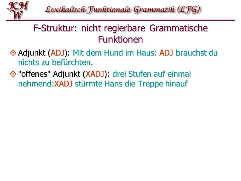 F-Struktur: nicht regierbare Grammatische Funktionen Adjunkt (ADJ): Mit dem Hund im Haus: ADJ brauchst du nichts zu befürchten. Adjunkt (ADJ): Mit dem