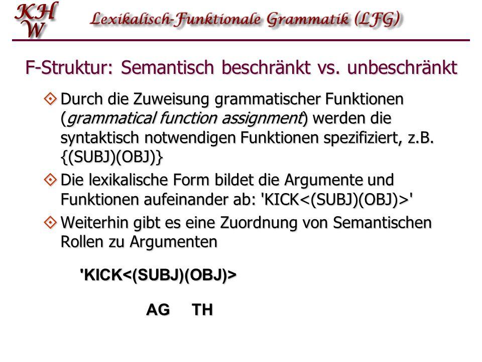 F-Struktur: Semantisch beschränkt vs. unbeschränkt Durch die Zuweisung grammatischer Funktionen (grammatical function assignment) werden die syntaktis