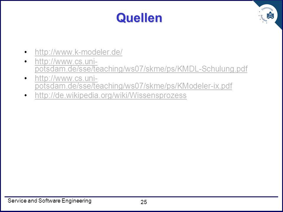 Service and Software Engineering 25 Quellen http://www.k-modeler.de/ http://www.cs.uni- potsdam.de/sse/teaching/ws07/skme/ps/KMDL-Schulung.pdfhttp://w