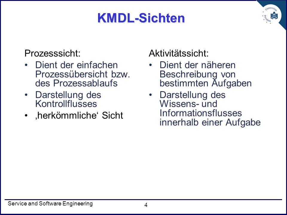 Service and Software Engineering 4 KMDL-Sichten Prozesssicht: Dient der einfachen Prozessübersicht bzw. des Prozessablaufs Darstellung des Kontrollflu