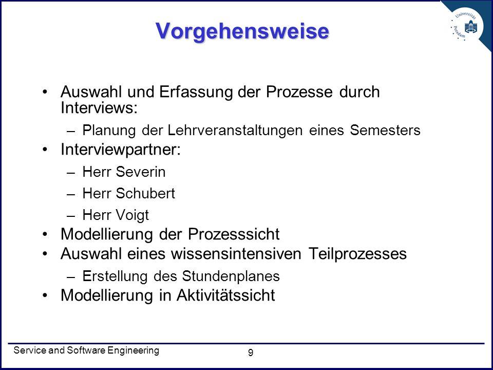Service and Software Engineering 10 Prozessmodell Identifikation von Akteuren (Rollen) –Moderator –Professor –Modulverantwortliche –Prüfungsausschuss –Prüfungsamt –PULS-Team