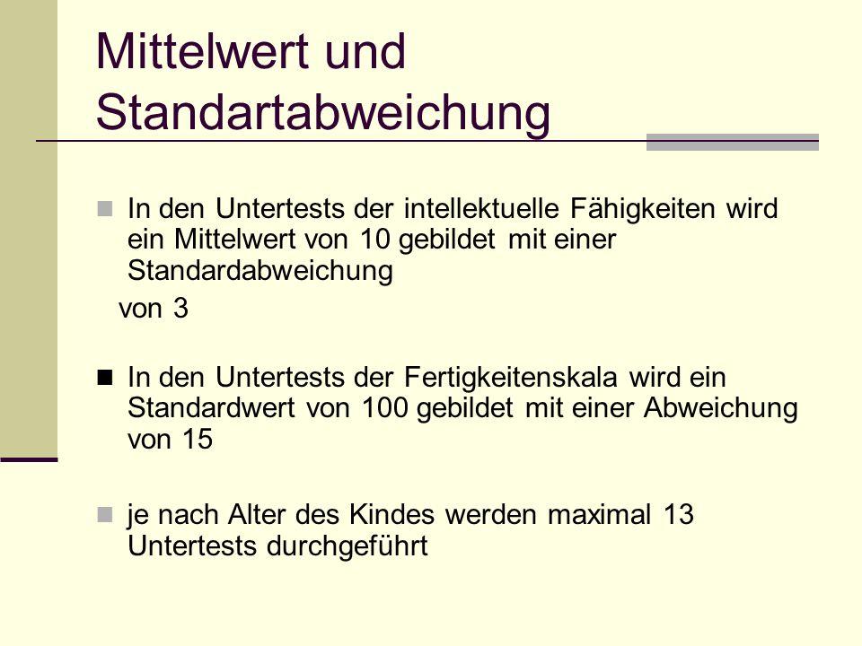Mittelwert und Standartabweichung In den Untertests der intellektuelle Fähigkeiten wird ein Mittelwert von 10 gebildet mit einer Standardabweichung vo