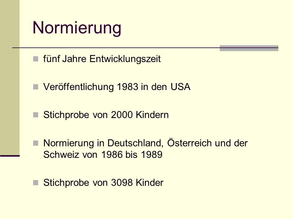 Normierung fünf Jahre Entwicklungszeit Veröffentlichung 1983 in den USA Stichprobe von 2000 Kindern Normierung in Deutschland, Österreich und der Schw
