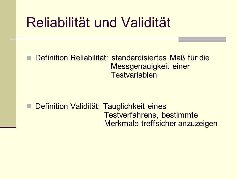 Reliabilität und Validität Definition Reliabilität: standardisiertes Maß für die Messgenauigkeit einer Testvariablen Definition Validität: Tauglichkei