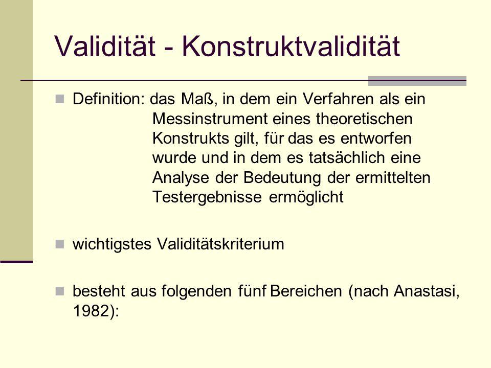 Validität - Konstruktvalidität Definition: das Maß, in dem ein Verfahren als ein Messinstrument eines theoretischen Konstrukts gilt, für das es entwor