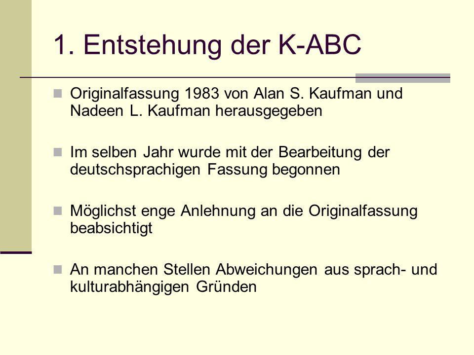 Entstehung K-ABC ist ein individuell durchzuführender Test zur Messung der Intelligenz und Fertigkeiten Kindergarten, Vorschul- und Grundschulbereich sowie in den ersten Jahren in der Sekundarstufe Zeitbedarf: Kindergartenalter ca.