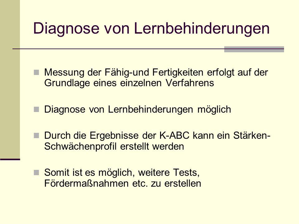 Diagnose von Lernbehinderungen Messung der Fähig-und Fertigkeiten erfolgt auf der Grundlage eines einzelnen Verfahrens Diagnose von Lernbehinderungen