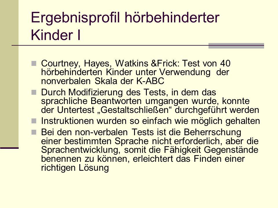 Ergebnisprofil hörbehinderter Kinder I Courtney, Hayes, Watkins &Frick: Test von 40 hörbehinderten Kinder unter Verwendung der nonverbalen Skala der K