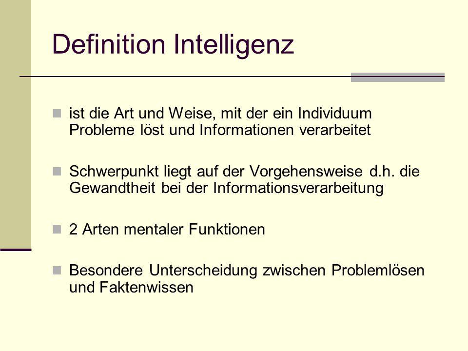 Definition Intelligenz ist die Art und Weise, mit der ein Individuum Probleme löst und Informationen verarbeitet Schwerpunkt liegt auf der Vorgehenswe