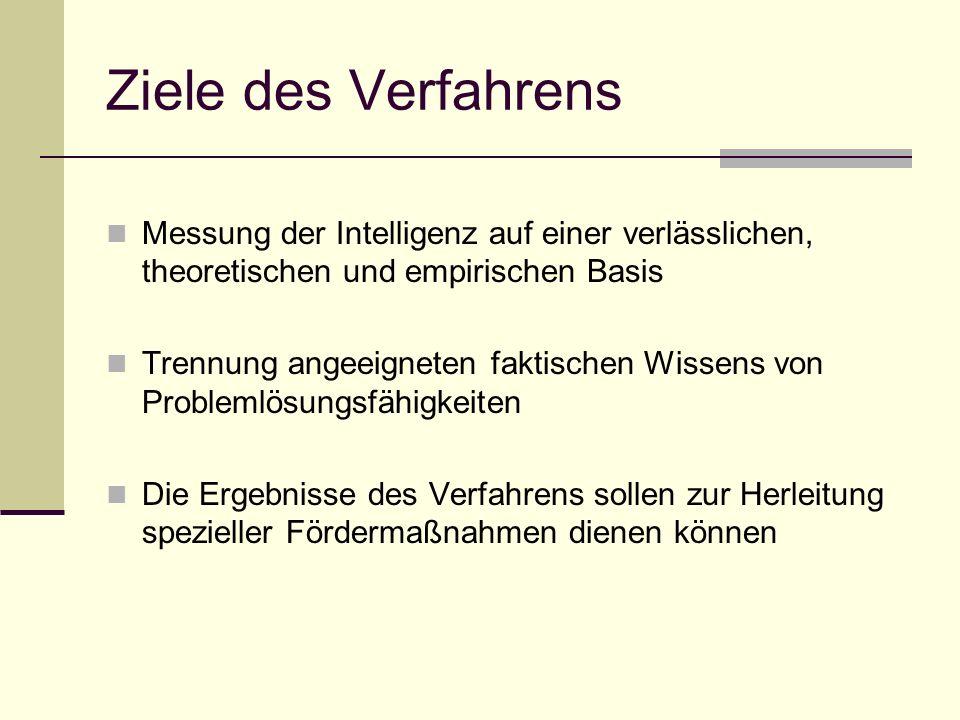 Ziele des Verfahrens Messung der Intelligenz auf einer verlässlichen, theoretischen und empirischen Basis Trennung angeeigneten faktischen Wissens von