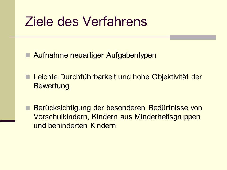 Fassung im deutschsprachigen Raum äquivalente Übertragung der in den Untertests der Skala Intellektuelle Fähigkeiten der Originalfassung enthaltenen Aufgaben angestrebt Änderungen bei der Fertigkeitenskala K-ABC zur Messung von Intelligenz und Fertigkeiten geeignet Normierung der deutschen Fassung ohne Einbezug der DDR