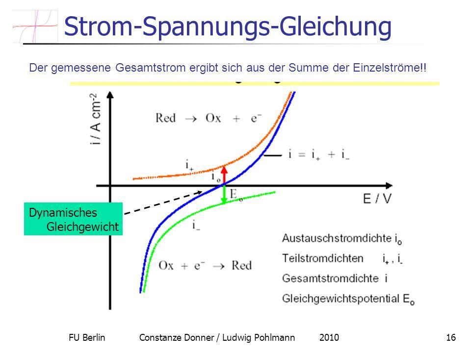 FU Berlin Constanze Donner / Ludwig Pohlmann 201016 Strom-Spannungs-Gleichung Der gemessene Gesamtstrom ergibt sich aus der Summe der Einzelströme!! D