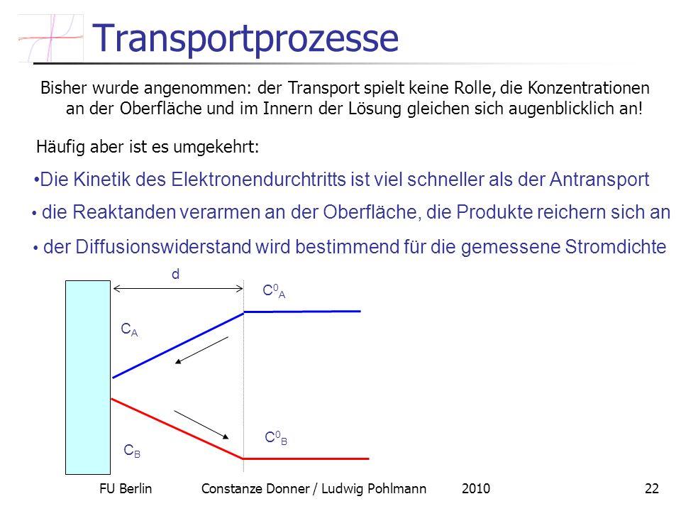 FU Berlin Constanze Donner / Ludwig Pohlmann 201022 Transportprozesse Bisher wurde angenommen: der Transport spielt keine Rolle, die Konzentrationen a