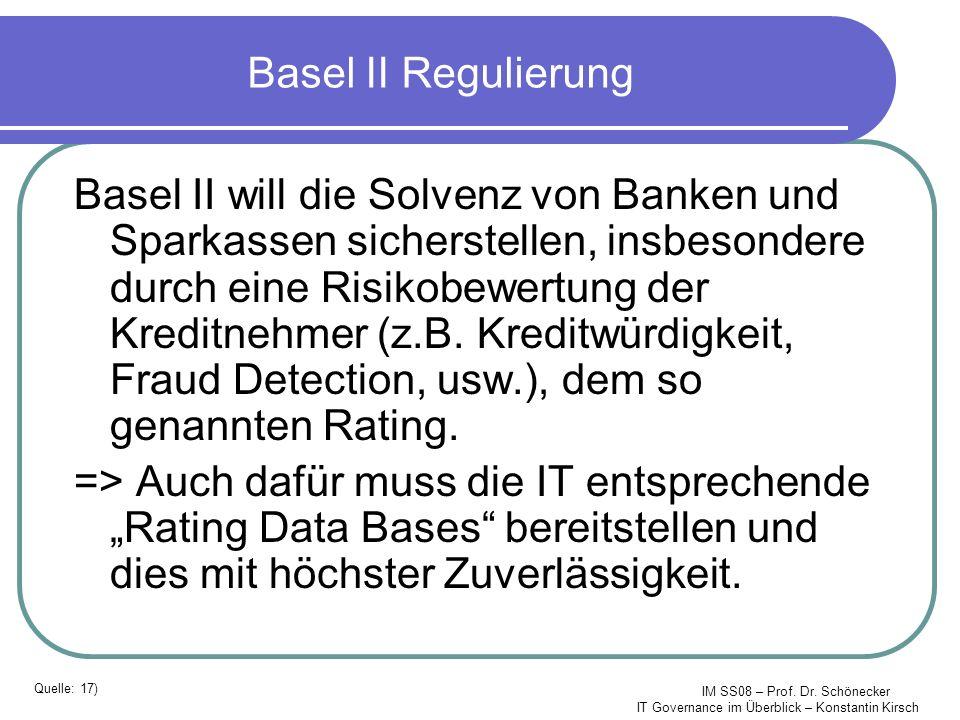 IM SS08 – Prof. Dr. Schönecker IT Governance im Überblick – Konstantin Kirsch Basel II Regulierung Basel II will die Solvenz von Banken und Sparkassen