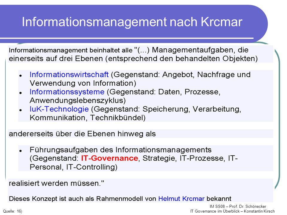 IM SS08 – Prof. Dr. Schönecker IT Governance im Überblick – Konstantin Kirsch Informationsmanagement nach Krcmar Quelle: 16)